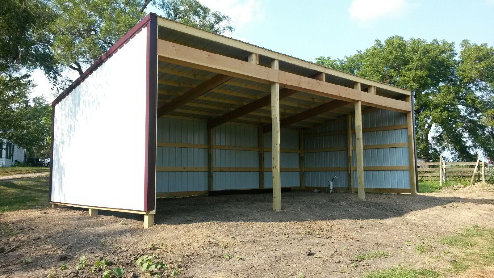Pole barn pics ross homes for Lean to barn